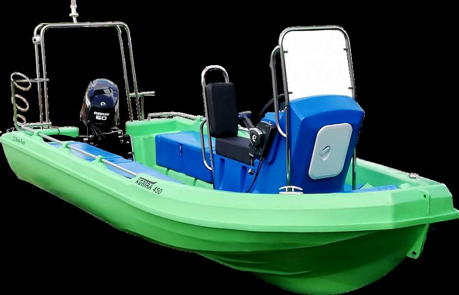 KONTRA 450 motorinė valtis iš polietileno, pramoginė versija.